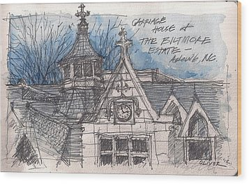 Biltmore Carriage House Wood Print by Tim Oliver