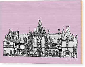 Biltmore Estate In Pink Wood Print by Adendorff Design