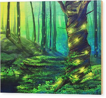 Bioluminescence Wood Print by Erin Scott