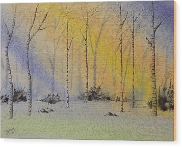 Wood Print featuring the painting Birch In Blue by Richard Faulkner