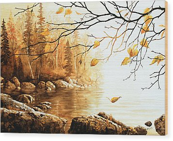 Birch Island Mist Wood Print by Hanne Lore Koehler