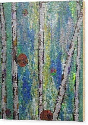 Birch - Lt. Green 4 Wood Print