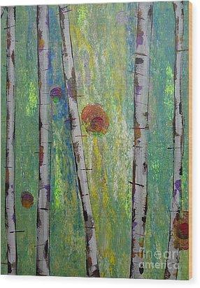 Birch - Lt. Green 5 Wood Print