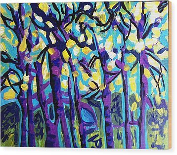 Birch Trees Blue Wood Print