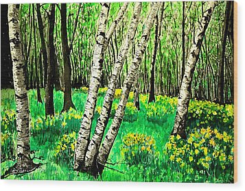 Birch Trees In Spring Wood Print by Diane Merkle