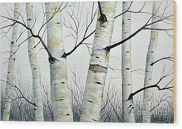 Birch Trees In The Forest By Christopher Shellhammer Wood Print