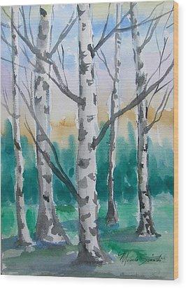Birch Trees Wood Print by Melinda Saminski