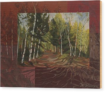 Birches Along The Lane Wood Print