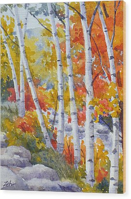 Birches Along The River Wood Print