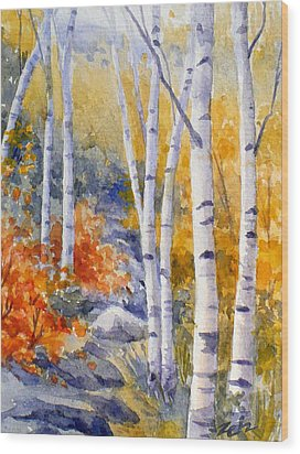 Birches Along The Trail Wood Print