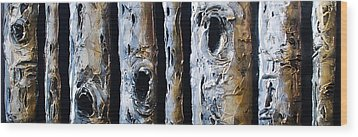 Birches In A Row Wood Print by Lori McPhee