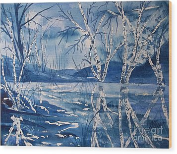 Birches In Blue Wood Print by Ellen Levinson