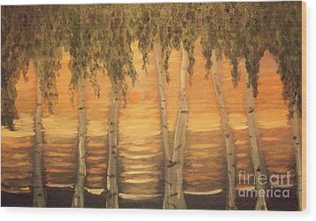 Birches In The Sun Wood Print