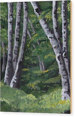 Birches Wood Print