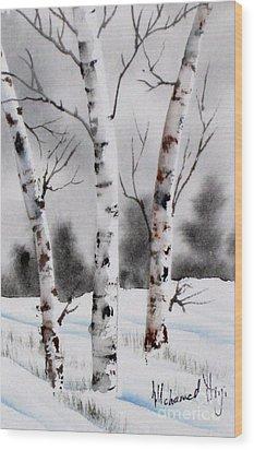 Birches Wood Print by Mohamed Hirji