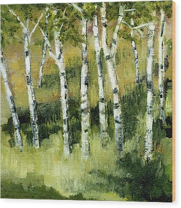 Birches On A Hill Wood Print by Michelle Calkins