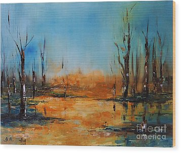 Birches Pond Wood Print