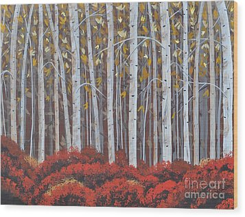 Birches Wood Print by Sally Rice