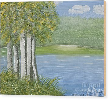 Birches By The Lake Wood Print
