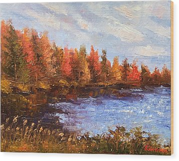 Wood Print featuring the painting Birchwood Lake by Jason Williamson