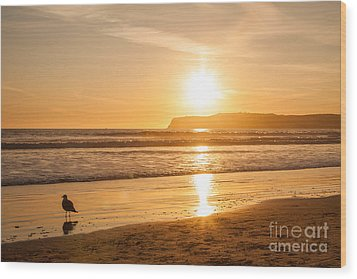 Wood Print featuring the photograph Bird And His Sunset by John Wadleigh