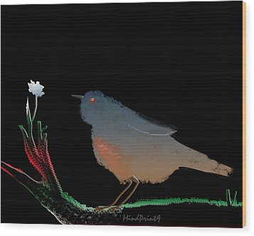 Bird And The Flower Wood Print by Asok Mukhopadhyay