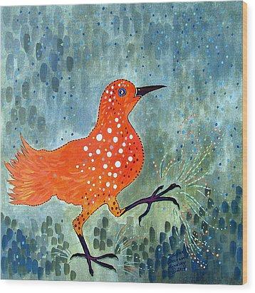 Bird Brain Rain Dance Wood Print