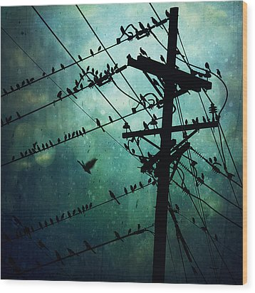 Bird City Wood Print