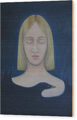 Wood Print featuring the painting Bird Embrace by Tone Aanderaa