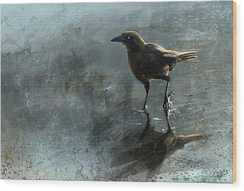 Bird In A Puddle Wood Print