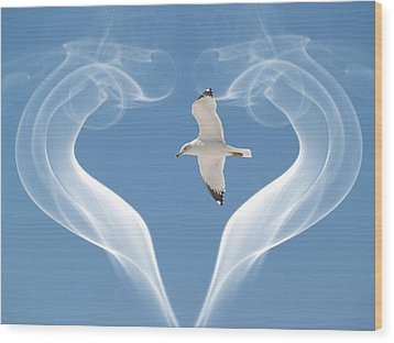 Wood Print featuring the photograph Bird In Flight by Athala Carole Bruckner