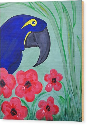 Wood Print featuring the painting Bird In Paradise   by Nora Shepley