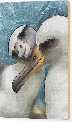Wood Print featuring the painting Bird Love by Georgi Dimitrov