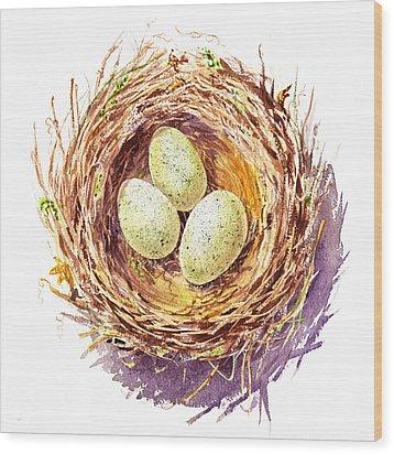 Bird Nest A Happy Trio Wood Print by Irina Sztukowski