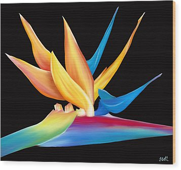 Wood Print featuring the painting Bird Of Paradise by Laura Bell