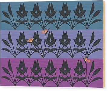 Bird Of Paradise Pattern Wood Print