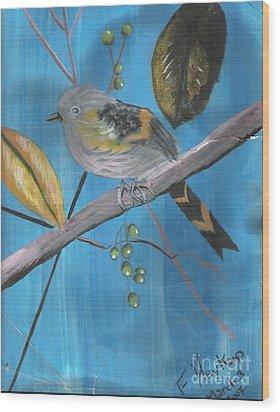 Bird On A Branch  Wood Print by Francine Heykoop