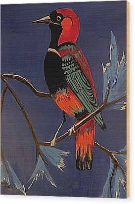 Bird On A Branch Wood Print by Kathleen Sartoris