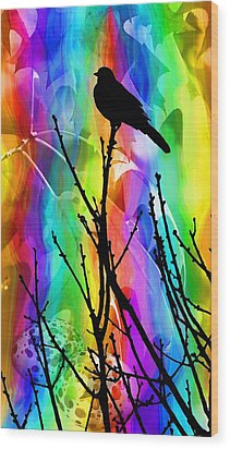 Wood Print featuring the photograph Bird On A Stick by Elizabeth Budd