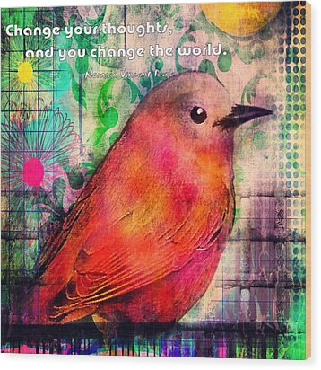Bird On A Wire Wood Print by Robin Mead