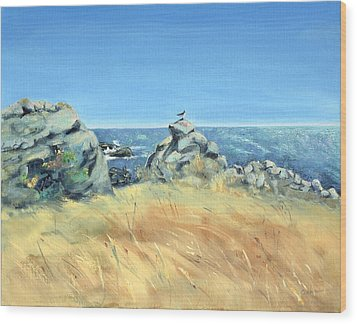 Wood Print featuring the painting Bird On Rock And Silvery Blue Sea by Asha Carolyn Young