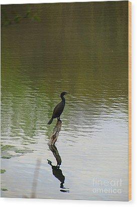 Bird On The Lake Wood Print by Avis  Noelle