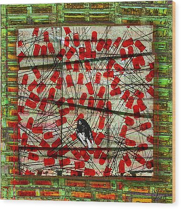 Bird On Wire Wood Print by Maria Jesus Hernandez