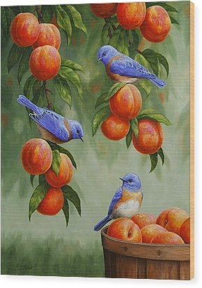 Bird Painting - Bluebirds And Peaches Wood Print by Crista Forest