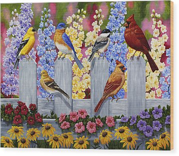 Bird Painting - Spring Garden Party Wood Print by Crista Forest