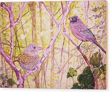 Bird Pair Wood Print by Linda Vaughon