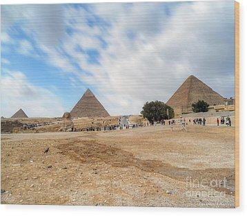Bird Sphinx And Pyramids Wood Print by Karam Halim