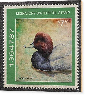 Bird Stamp Wood Print by Steve McKinzie
