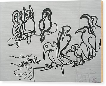 Bird Talk Wood Print by Godfrey McDonnell