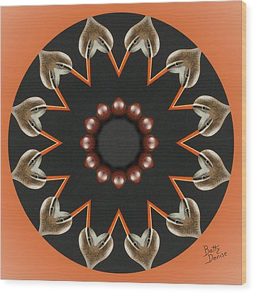 Wood Print featuring the photograph Bird With Egg Kaleidoscope by Betty Denise